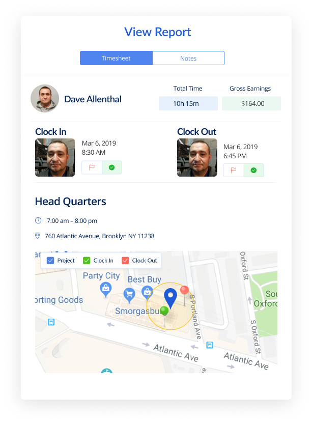 Face Recognition Timesheets