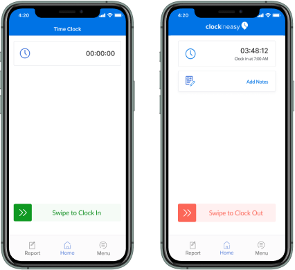 ClockInEasy Mobile app - Detailed time sheets